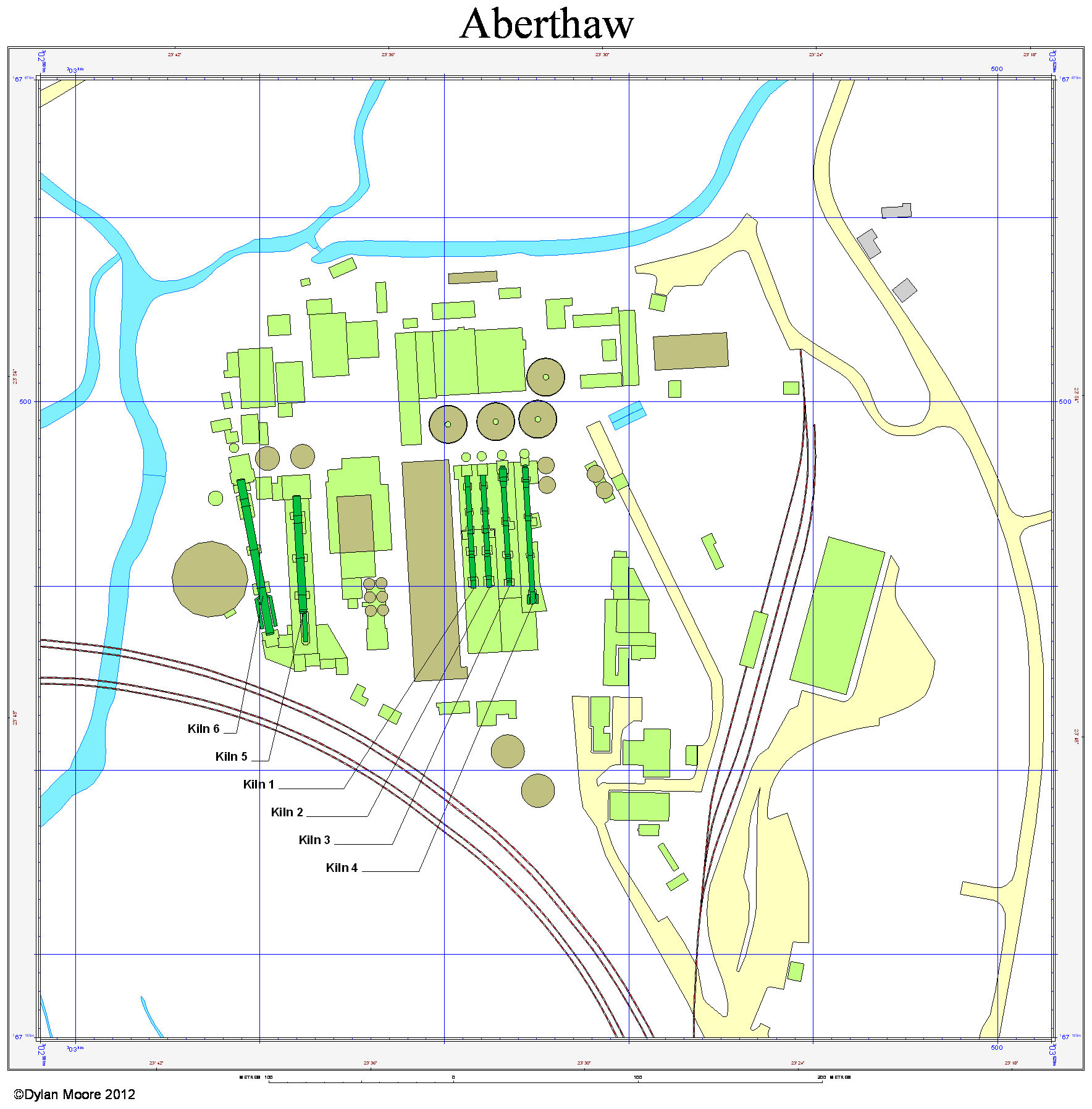 Aberthaw cement layout map